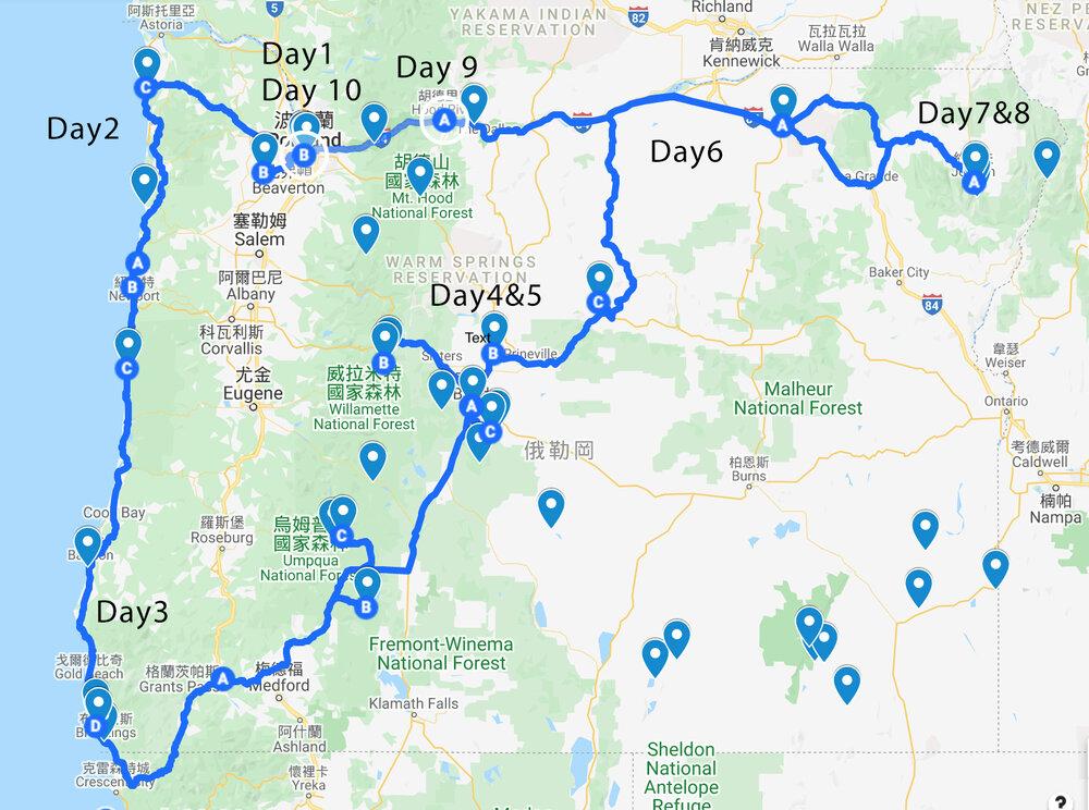 OREGON ROAD TRIP map